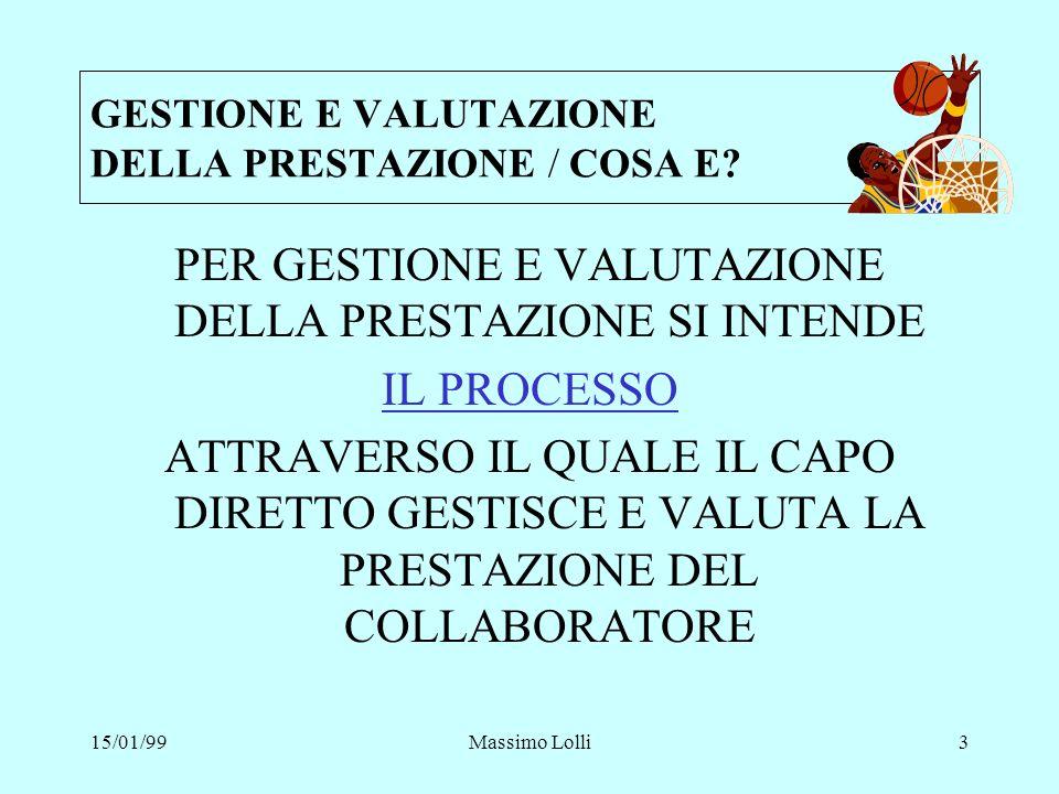 15/01/99Massimo Lolli4 PERCHE GESTIRE E VALUTARE LA PRESTAZIONE .
