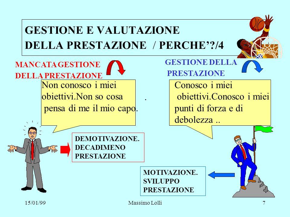15/01/99Massimo Lolli7 GESTIONE E VALUTAZIONE DELLA PRESTAZIONE / PERCHE?/4 MANCATA GESTIONE DELLA PRESTAZIONE Non conosco i miei obiettivi.Non so cos