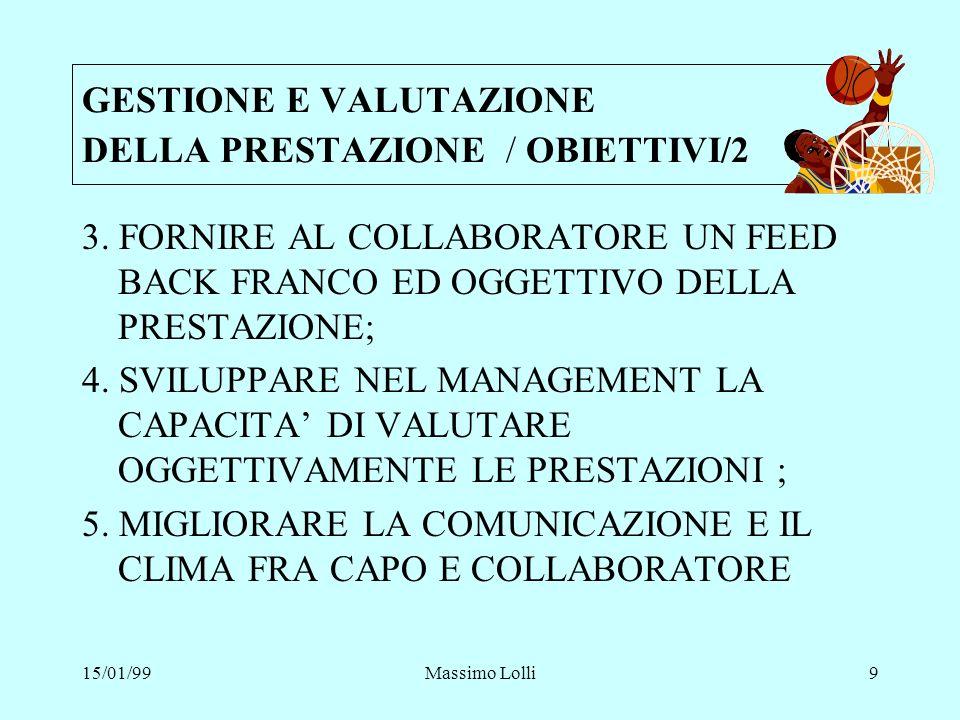 15/01/99Massimo Lolli9 3. FORNIRE AL COLLABORATORE UN FEED BACK FRANCO ED OGGETTIVO DELLA PRESTAZIONE; 4. SVILUPPARE NEL MANAGEMENT LA CAPACITA DI VAL
