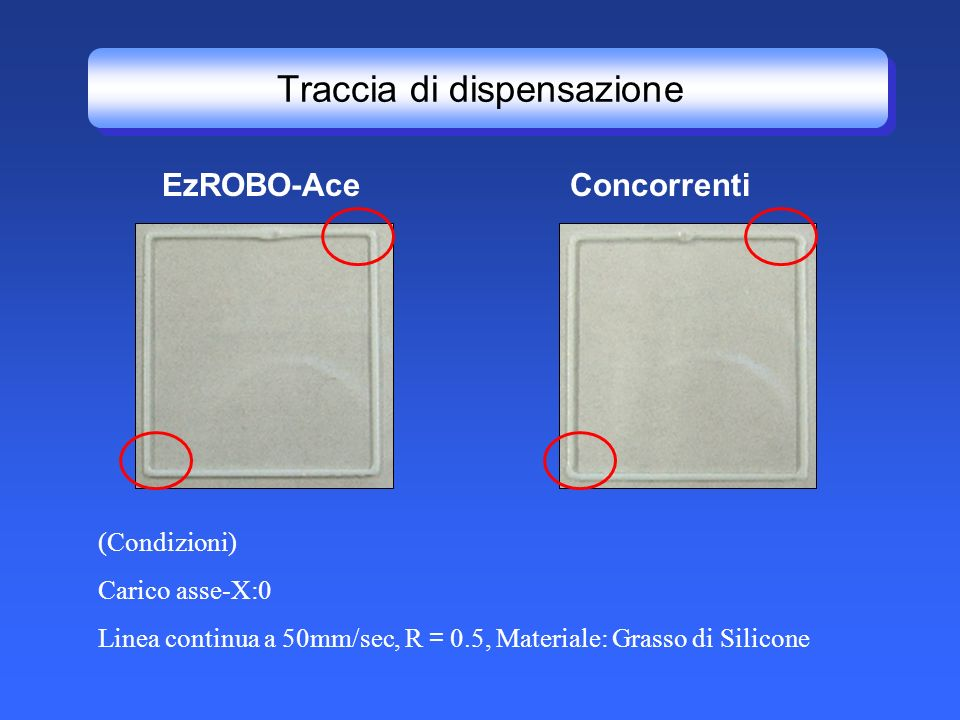 Traccia di dispensazione ConcorrentiEzROBO-Ace (Condizioni) Carico asse-X:0 Linea continua a 50mm/sec, R 0.5, Materiale: Grasso di Silicone