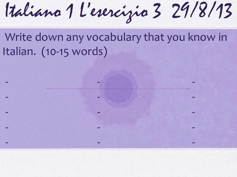 Italiano 1 Lesercizio 1316/9/13 Scrivete i sostantivi e dopo I pronomi che rappresentano le persone.