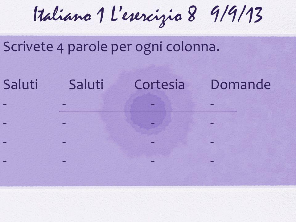 Italiano 1 Lesercizio 89/9/13 Scrivete 4 parole per ogni colonna. Saluti Saluti CortesiaDomande ----