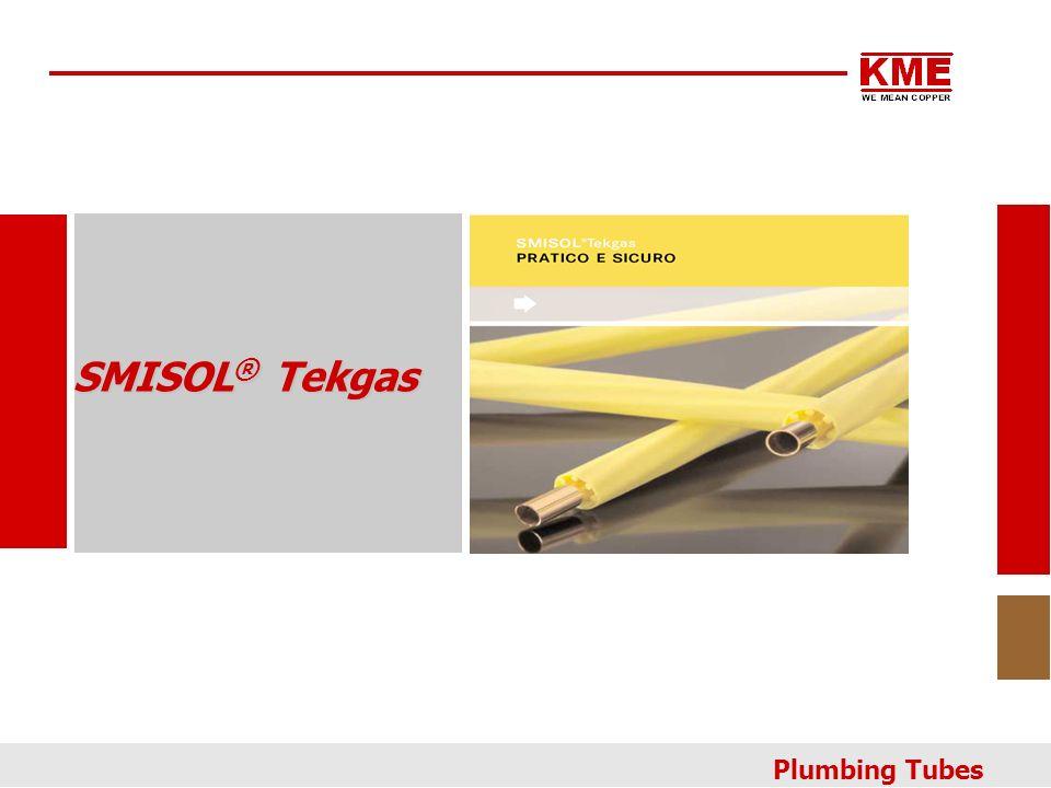 Tubi di rame con trattamento di passivazione della parete interna, rivestito in fase di produzione, con guaina in polietilene ad alta densità con struttura interna elicoidale, di colore giallo.