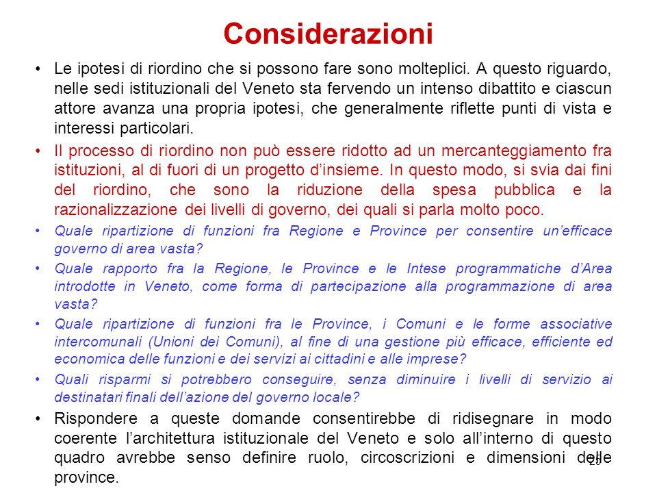 24 Attuali province del Veneto Superficie Kmq Residenti 1/1/2011 Residenti per kmq Imprese 2011 Res. per impresa Numero Comuni Provincia di Venezia2.4