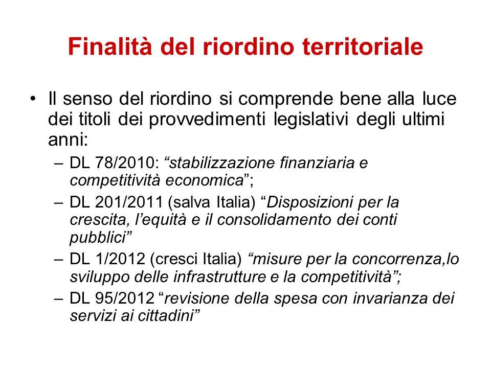 Il senso del riordino si comprende bene alla luce dei titoli dei provvedimenti legislativi degli ultimi anni: –DL 78/2010: stabilizzazione finanziaria e competitività economica; –DL 201/2011 (salva Italia) Disposizioni per la crescita, lequità e il consolidamento dei conti pubblici –DL 1/2012 (cresci Italia) misure per la concorrenza,lo sviluppo delle infrastrutture e la competitività; –DL 95/2012 revisione della spesa con invarianza dei servizi ai cittadini Finalità del riordino territoriale