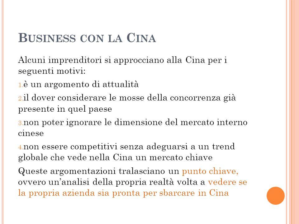 B USINESS CON LA C INA Alcuni imprenditori si approcciano alla Cina per i seguenti motivi: 1. è un argomento di attualità 2. il dover considerare le m