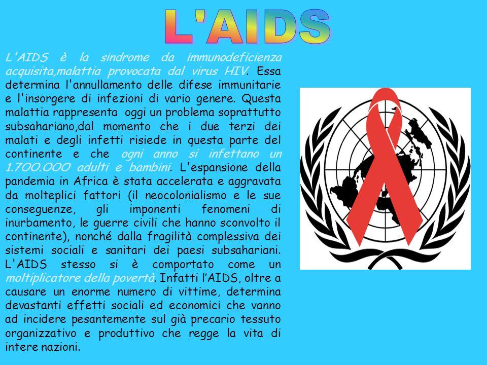 L'AIDS è la sindrome da immunodeficienza acquisita,malattia provocata dal virus HIV. Essa determina l'annullamento delle difese immunitarie e l'insorg