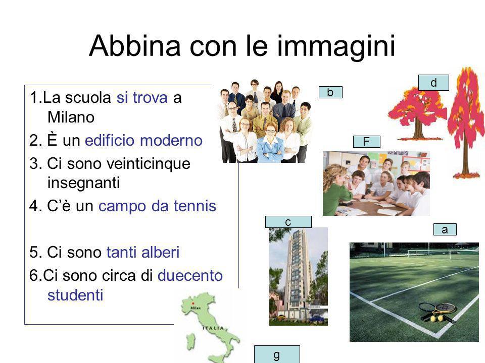 Abbina con le immagini 1.La scuola si trova a Milano 2. È un edificio moderno 3. Ci sono veinticinque insegnanti 4. Cè un campo da tennis 5. Ci sono t