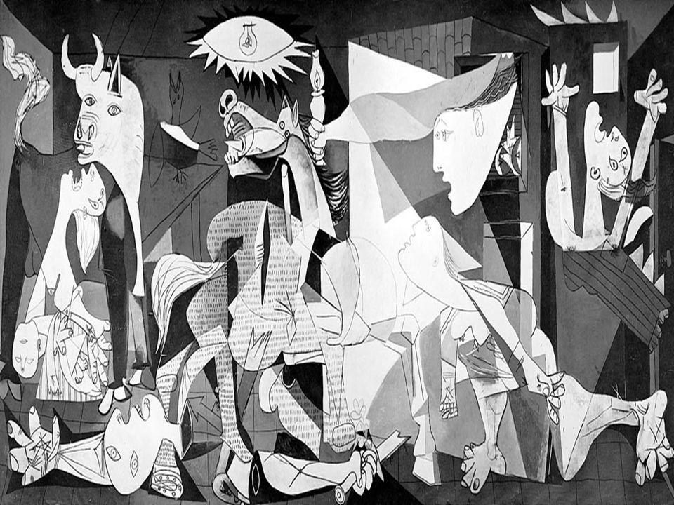Cavallo che urla: può rappresentare la natura ferita o il segno di come nobiltà e fierezza (tipiche del cavallo, ma anche della Spagna) vengano ferite a morte dalla brutalità della guerra Toro: simbolo della Spagna, presente nella cultura occidentale con un duplice significato: da un lato, rappresenta la fertilità, la virilità, la forza, dall altro è l oscuro nemico da battere (come nella corrida spagnola) Donna col bambino morto in braccio: rappresenta il dolore universale dell uomo Soldato caduto: simbolo della gioventù distrutta dalle atrocità della guerra Donne (di cui una che scappa, una che regge un lume e un altra che grida dall interno di una casa) : altri segni di dolore e rassegnazione Segni violenza (la ferita del cavallo, la spada spezzata in mano al soldato caduto, le bocche spalancate in un grido di dolore) rendono ancora di più tragicità evento Luce: non quella del Sole (che non continua a splendere su Guernica) ma proviene da due fonti artificiali: la lampada posta al centro della scena e il lume retto dalla donna dentro la casa Fiore in mano al soldato e l uccello (forse una colomba) a sinistra della lampada sono, però, segni di pace e speranza Composizione simmetrica: scena è divisa in due zone uguali da muro caseggiato Schema centrale triangolare: due triangoli rettangoli che partono dalla parete del caseggiato, figure laterali del toro a sinistra e della donna a destra fanno da quinte alla scena