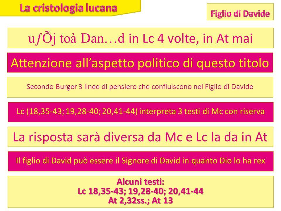 uƒÕj toà Dan…d in Lc 4 volte, in At mai Attenzione allaspetto politico di questo titolo Secondo Burger 3 linee di pensiero che confluiscono nel Figlio di Davide Lc (18,35-43; 19,28-40; 20,41-44) interpreta 3 testi di Mc con riserva La risposta sarà diversa da Mc e Lc la da in At Il figlio di David può essere il Signore di David in quanto Dio lo ha rex Alcuni testi: Lc 18,35-43; 19,28-40; 20,41-44 At 2,32ss.; At 13