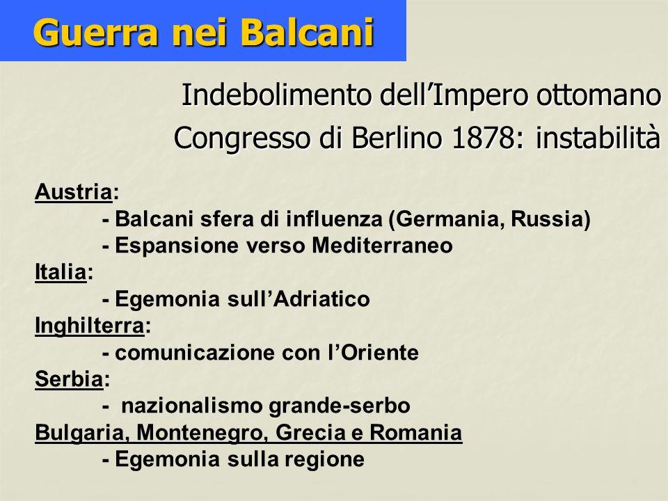 Indebolimento dellImpero ottomano Congresso di Berlino 1878: instabilità Guerra nei Balcani Austria: - Balcani sfera di influenza (Germania, Russia) -
