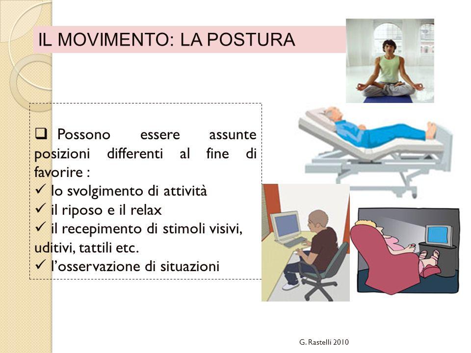 IL MOVIMENTO: LA POSTURA Possono essere assunte posizioni differenti al fine di favorire : lo svolgimento di attività il riposo e il relax il recepime
