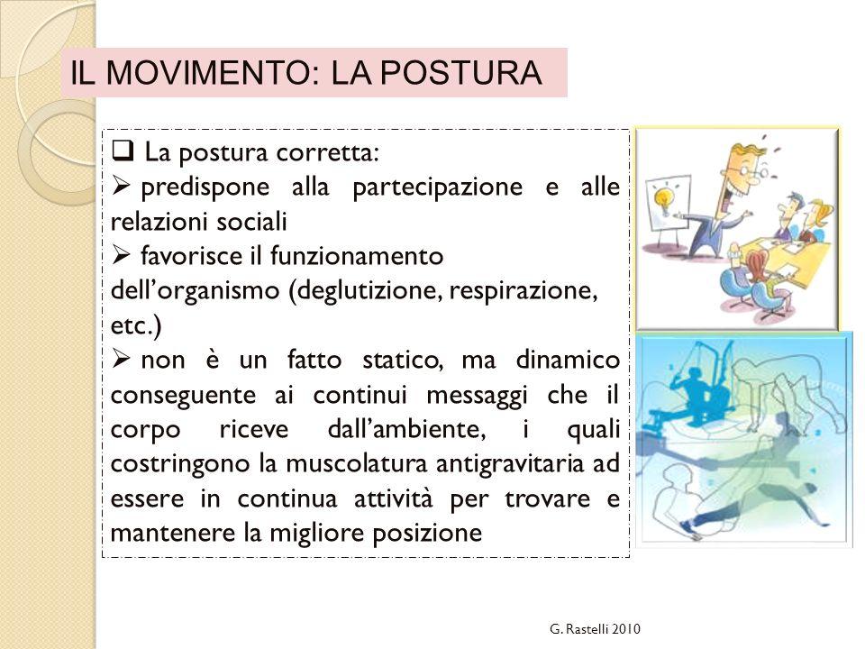 La postura corretta: predispone alla partecipazione e alle relazioni sociali favorisce il funzionamento dellorganismo (deglutizione, respirazione, etc