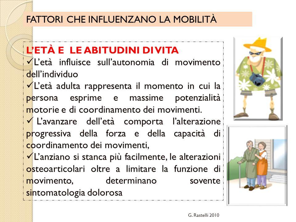 FATTORI CHE INFLUENZANO LA MOBILITÀ LETÀ E LE ABITUDINI DI VITA Letà influisce sullautonomia di movimento dellindividuo Letà adulta rappresenta il mom
