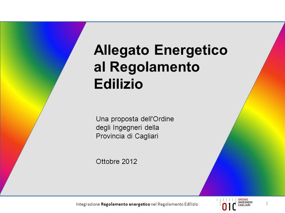 Integrazione Regolamento energetico nel Regolamento Edilizio12 Isolamento acustico Isolamento termico Indice di prestazione energetica degli edifici Contenimento dei consumi energetici in regime estivo Tetti verdi Sistemi solari passivi Materiali ecosostenibili Involucro