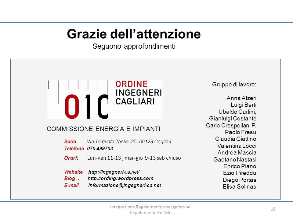 Integrazione Regolamento energetico nel Regolamento Edilizio 10 COMMISSIONE ENERGIA E IMPIANTI Gruppo di lavoro: Anna Atzeri Luigi Berti Ubaldo Carlin