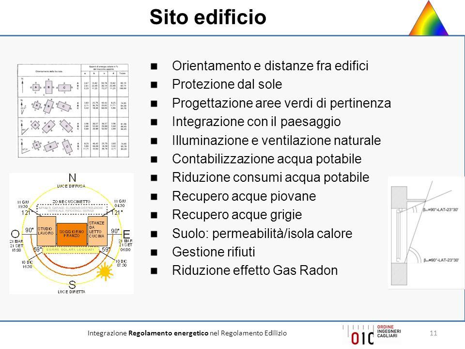 Integrazione Regolamento energetico nel Regolamento Edilizio11 Orientamento e distanze fra edifici Protezione dal sole Progettazione aree verdi di per