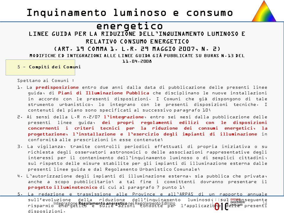 Integrazione Regolamento energetico nel Regolamento Edilizio14 LINEE GUIDA PER LA RIDUZIONE DELLINQUINAMENTO LUMINOSO E RELATIVO CONSUMO ENERGETICO (A