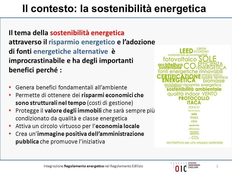 Integrazione Regolamento energetico nel Regolamento Edilizio2 Il tema della sostenibilità energetica attraverso il risparmio energetico e ladozione di