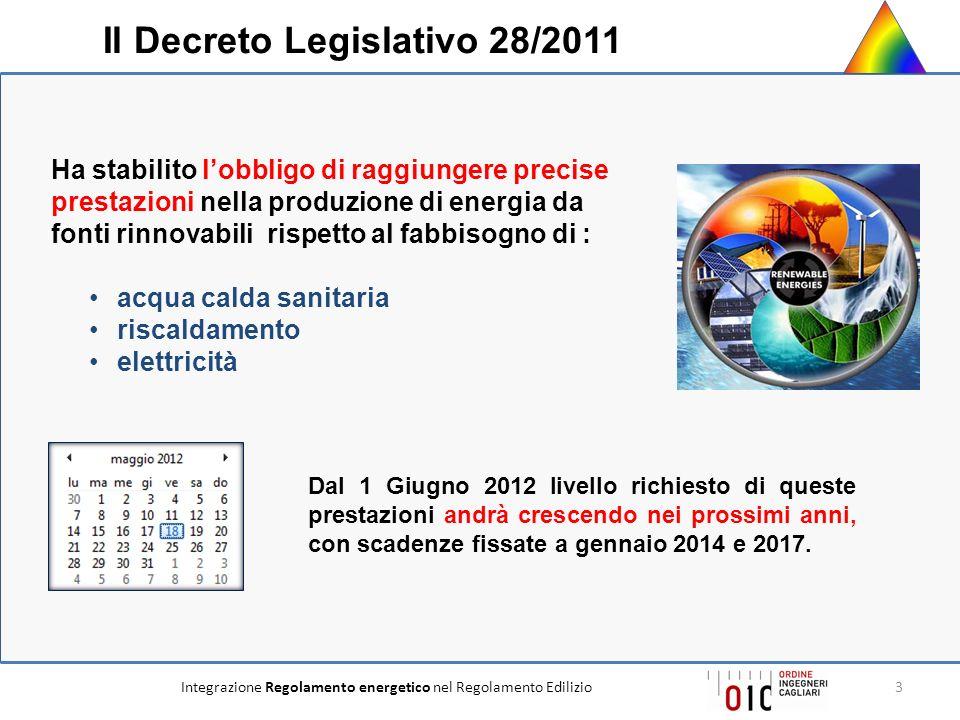 Integrazione Regolamento energetico nel Regolamento Edilizio3 Dal 1 Giugno 2012 livello richiesto di queste prestazioni andrà crescendo nei prossimi a