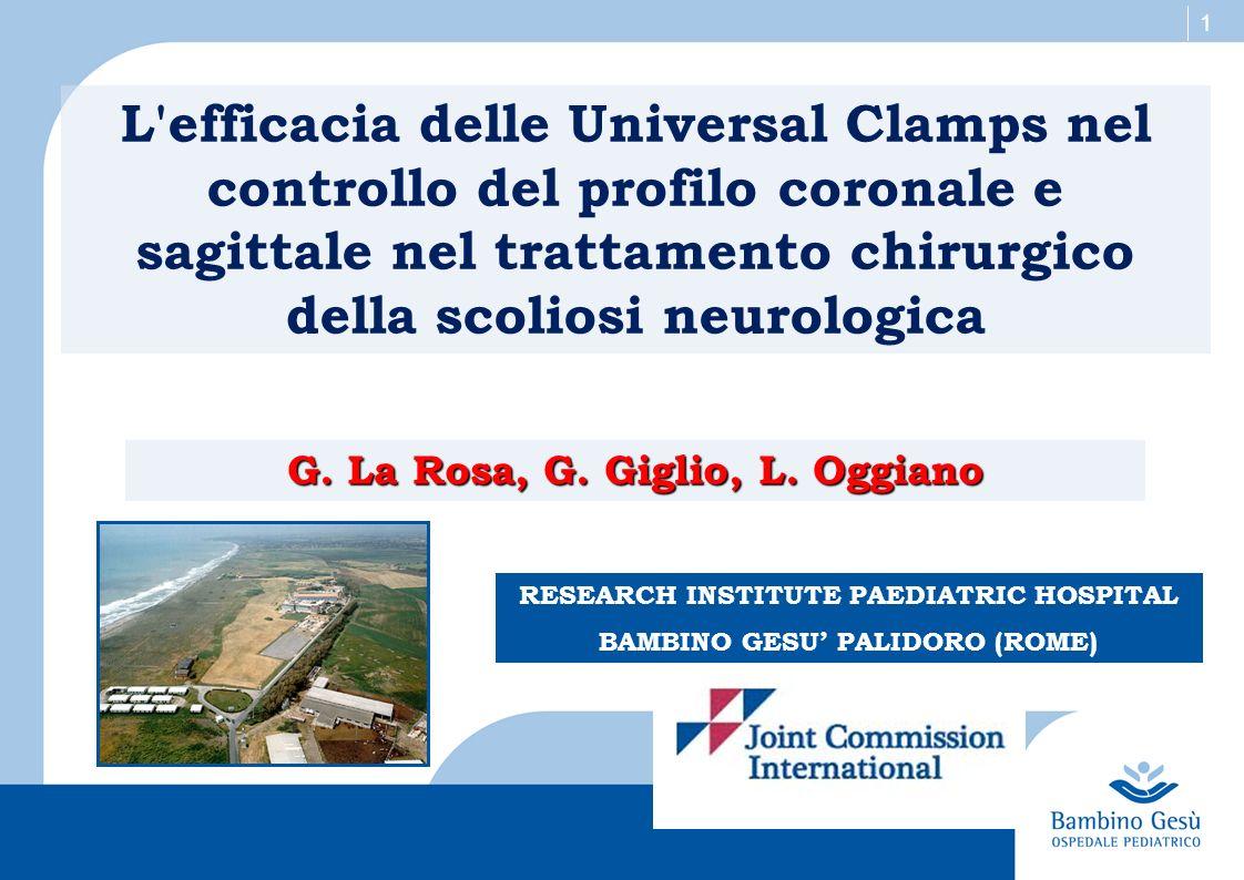 1 L'efficacia delle Universal Clamps nel controllo del profilo coronale e sagittale nel trattamento chirurgico della scoliosi neurologica G. La Rosa,