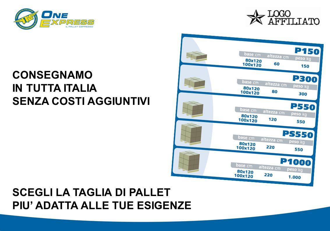 CONSEGNAMO IN TUTTA ITALIA SENZA COSTI AGGIUNTIVI SCEGLI LA TAGLIA DI PALLET PIU ADATTA ALLE TUE ESIGENZE