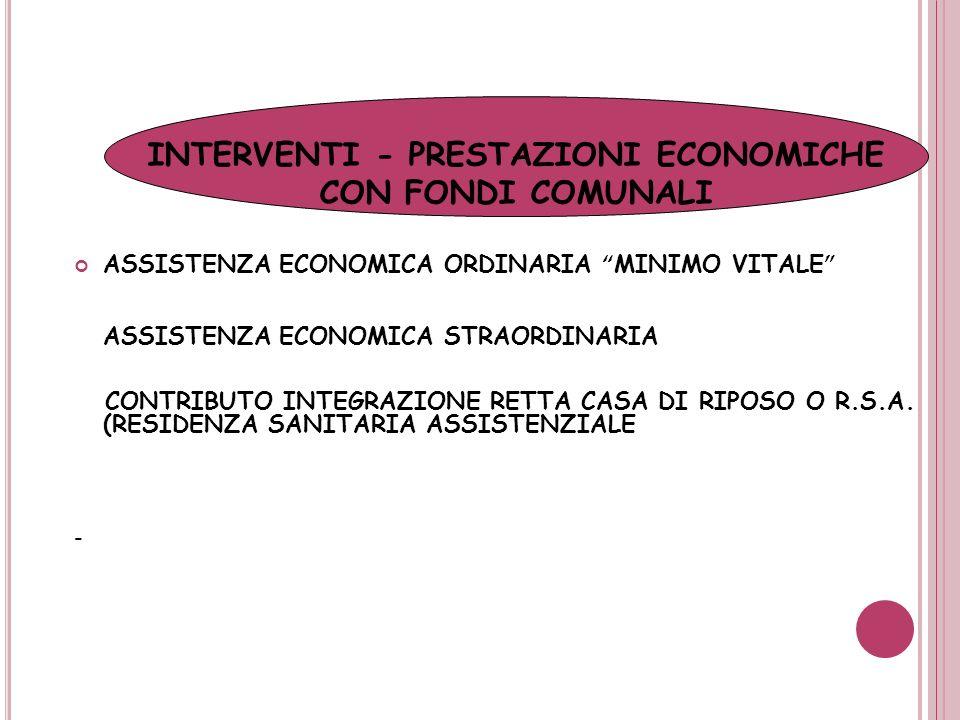ASSISTENZA ECONOMICA ORDINARIA MINIMO VITALE ASSISTENZA ECONOMICA STRAORDINARIA CONTRIBUTO INTEGRAZIONE RETTA CASA DI RIPOSO O R.S.A. (RESIDENZA SANIT
