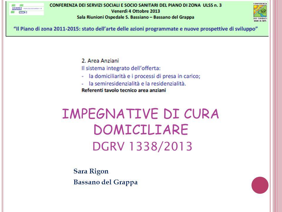 IMPEGNATIVE DI CURA DOMICILIARE DGRV 1338/2013 Sara Rigon Bassano del Grappa