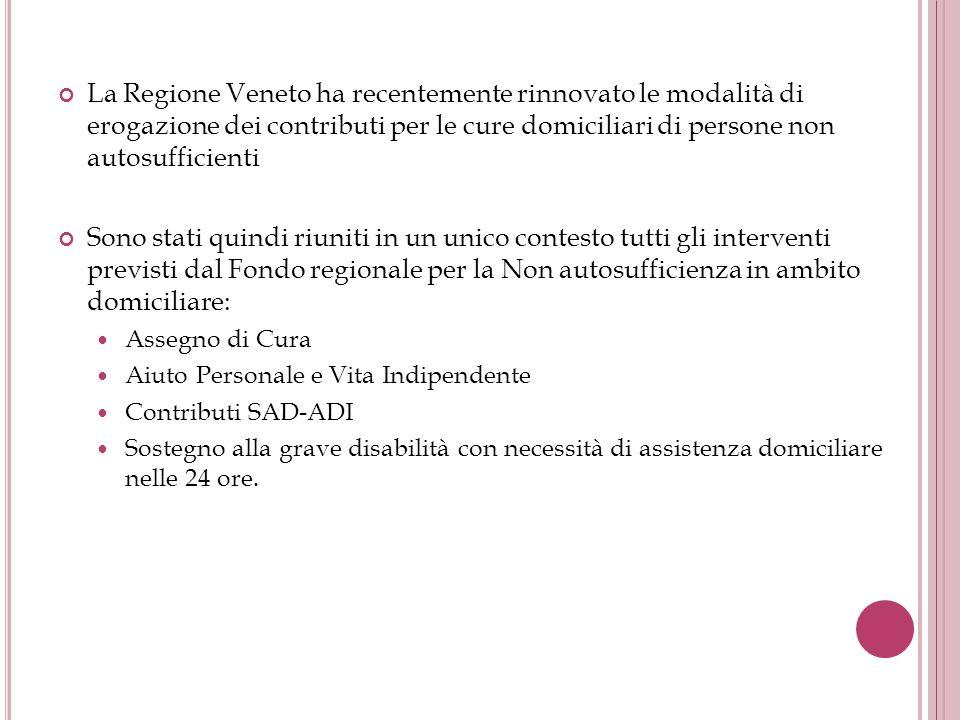 La Regione Veneto ha recentemente rinnovato le modalità di erogazione dei contributi per le cure domiciliari di persone non autosufficienti Sono stati