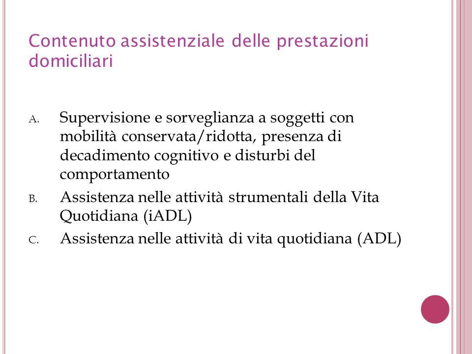 Contenuto assistenziale delle prestazioni domiciliari A. Supervisione e sorveglianza a soggetti con mobilità conservata/ridotta, presenza di decadimen