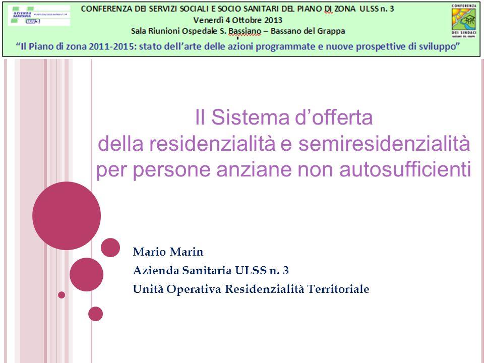 Il Sistema dofferta della residenzialità e semiresidenzialità per persone anziane non autosufficienti Mario Marin Azienda Sanitaria ULSS n. 3 Unità Op