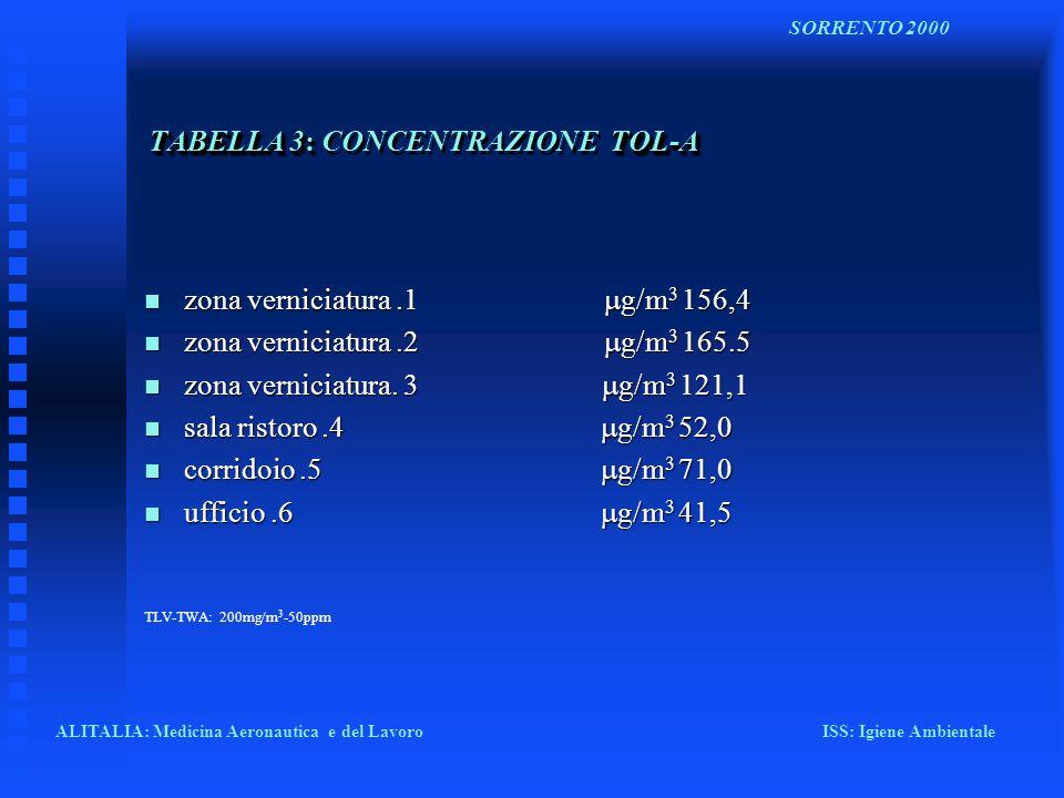 TABELLA 3: TOL-A TABELLA 3: CONCENTRAZIONE TOL-A zona verniciatura.1 g/m 3 156,4 zona verniciatura.1 g/m 3 156,4 zona verniciatura.2 g/m 3 165.5 zona