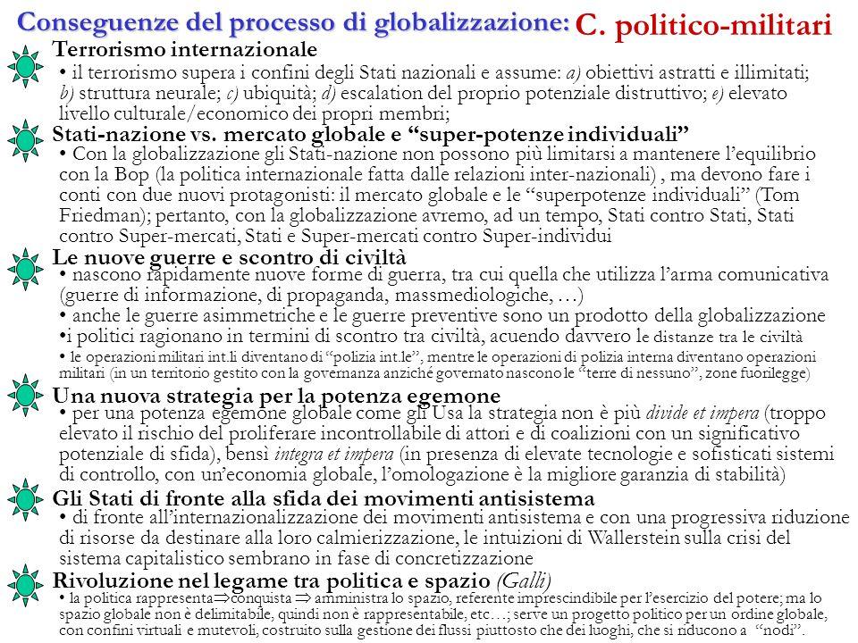 Determinanti e indicatori del processo di globalizzazione Determinanti politico-militari I cicli bellici si sono uniformati a livello planetario[xx se