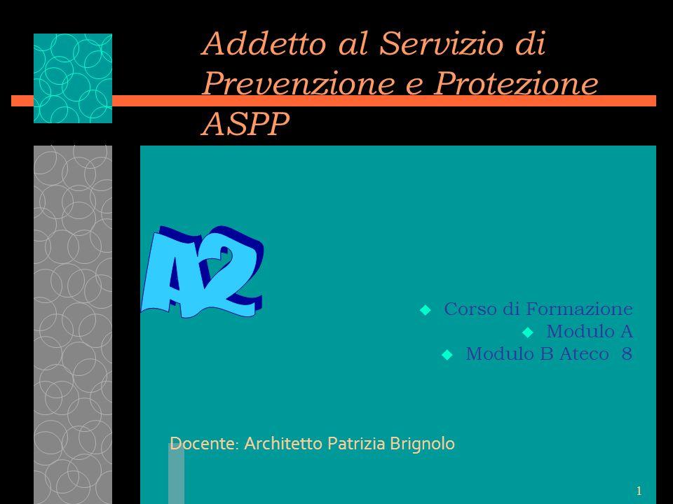 1 Addetto al Servizio di Prevenzione e Protezione ASPP u Corso di Formazione u Modulo A u Modulo B Ateco 8 Docente: Architetto Patrizia Brignolo