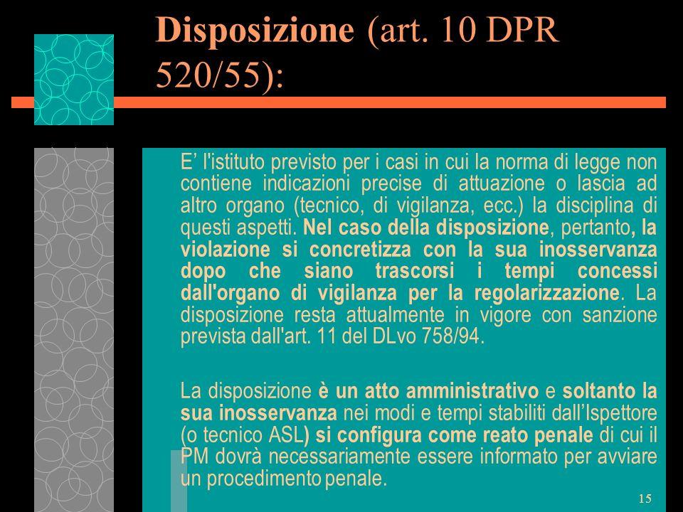 15 Disposizione (art. 10 DPR 520/55): E l'istituto previsto per i casi in cui la norma di legge non contiene indicazioni precise di attuazione o lasci