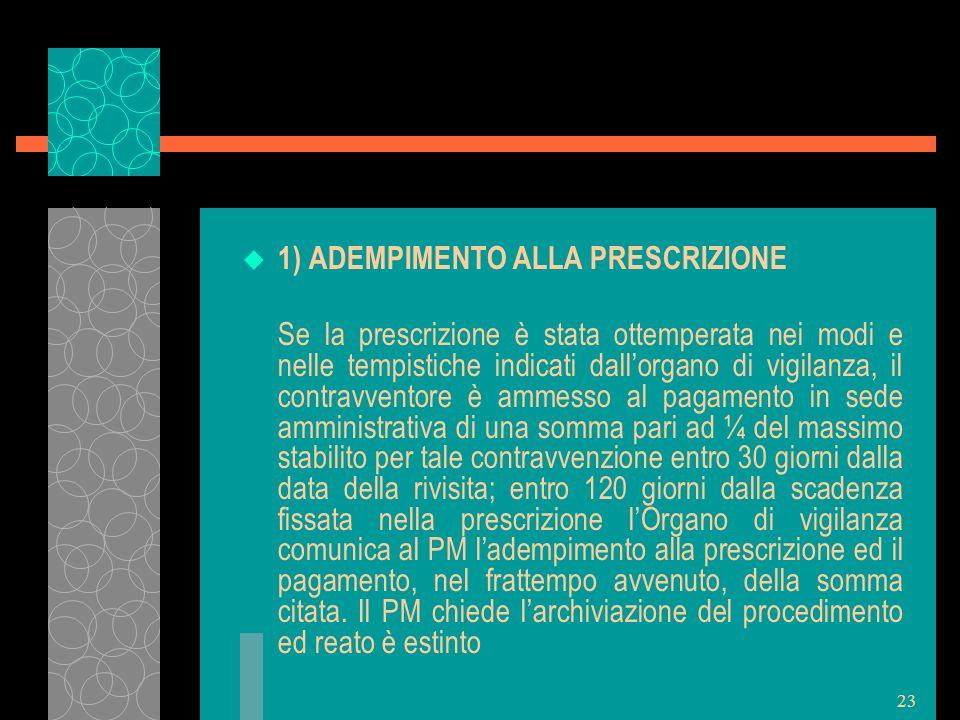 23 u 1) ADEMPIMENTO ALLA PRESCRIZIONE Se la prescrizione è stata ottemperata nei modi e nelle tempistiche indicati dallorgano di vigilanza, il contrav