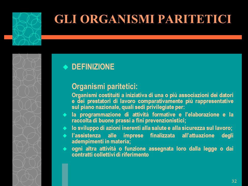 32 GLI ORGANISMI PARITETICI u DEFINIZIONE Organismi paritetici: Organismi costituiti a iniziativa di una o più associazioni dei datori e dei prestator