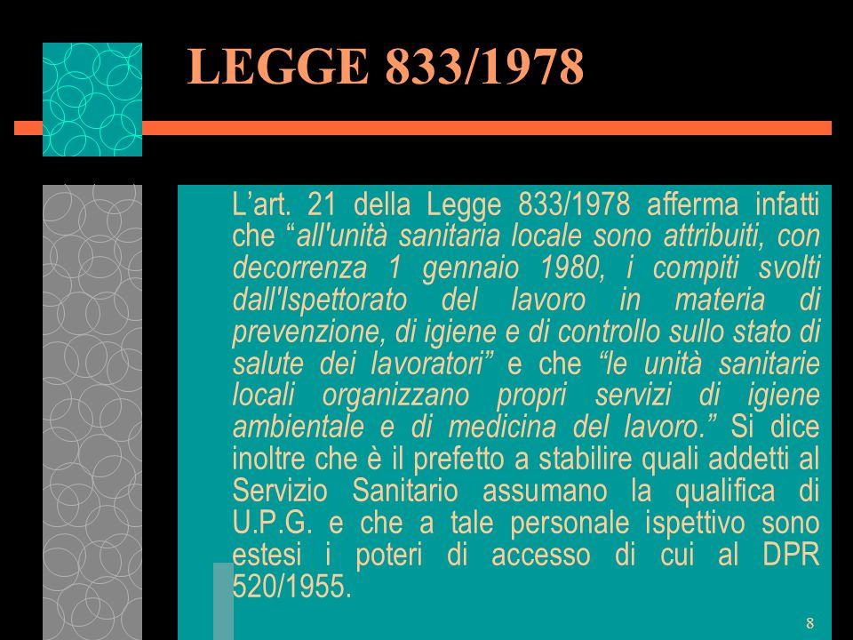 9 LEGGE 833/1978 I dipartimenti di prevenzione delle ASL si occupano di sicurezza ed igiene in ambiente di lavoro La Direzione Provinciale del lavoro – Servizi ispettivi (ex Ispettorato del lavoro) affronta la materia del lavoro dal punto di vista della contrattazione, lotta al sommerso, previdenza ed assicurazione ecc.