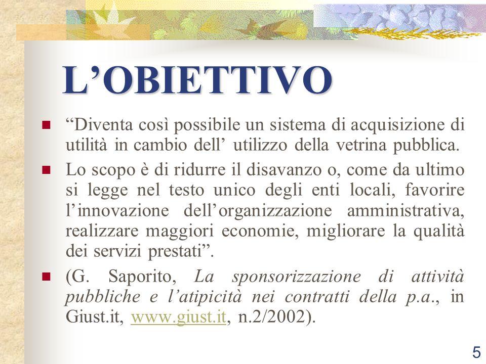 5 LOBIETTIVO Diventa così possibile un sistema di acquisizione di utilità in cambio dell utilizzo della vetrina pubblica.