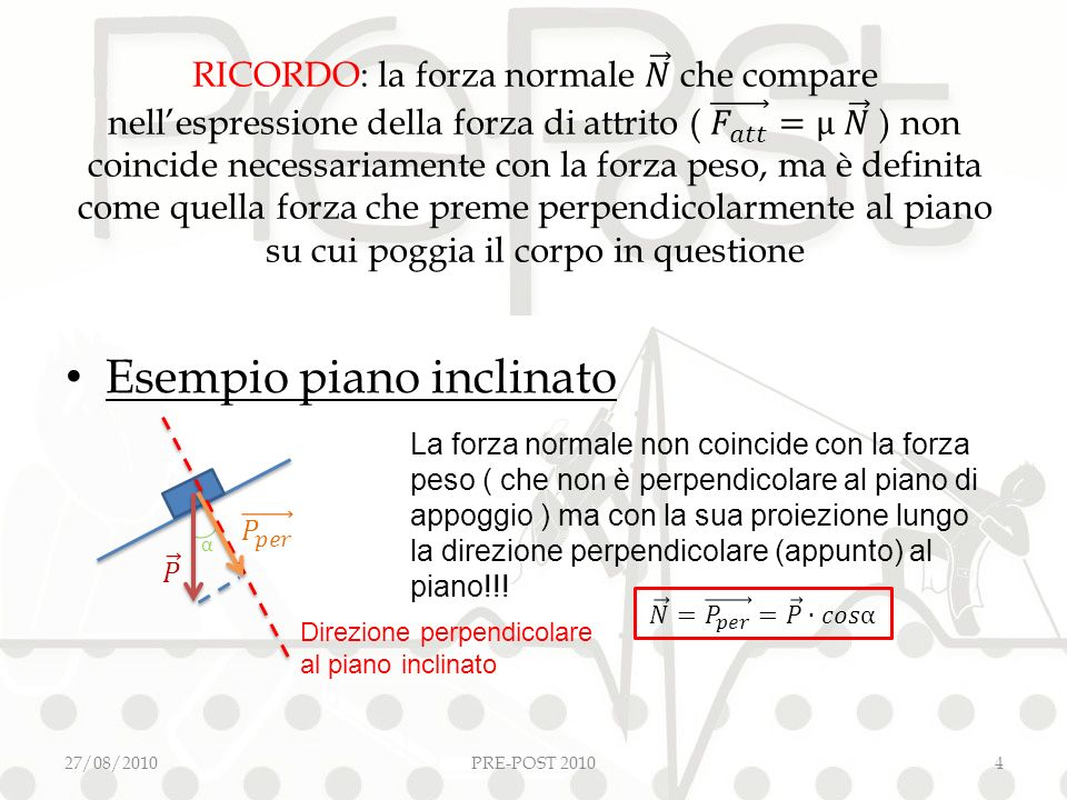 Esempio piano inclinato 27/08/2010PRE-POST 20104 La forza normale non coincide con la forza peso ( che non è perpendicolare al piano di appoggio ) ma con la sua proiezione lungo la direzione perpendicolare (appunto) al piano!!.