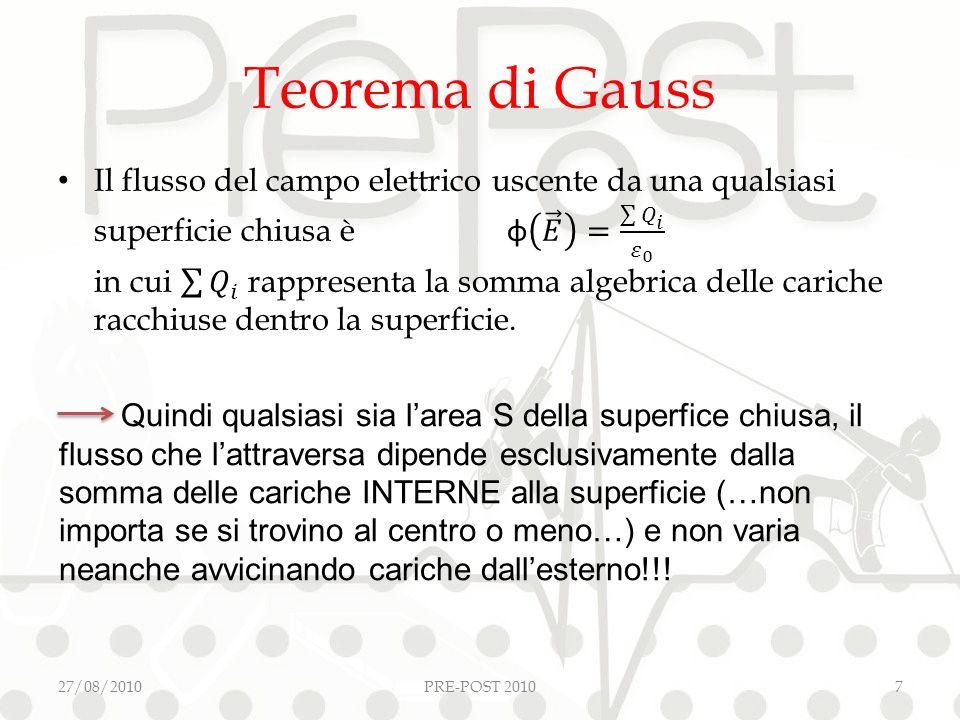 Teorema di Gauss 27/08/2010PRE-POST 20107 Quindi qualsiasi sia larea S della superfice chiusa, il flusso che lattraversa dipende esclusivamente dalla somma delle cariche INTERNE alla superficie (…non importa se si trovino al centro o meno…) e non varia neanche avvicinando cariche dallesterno!!!