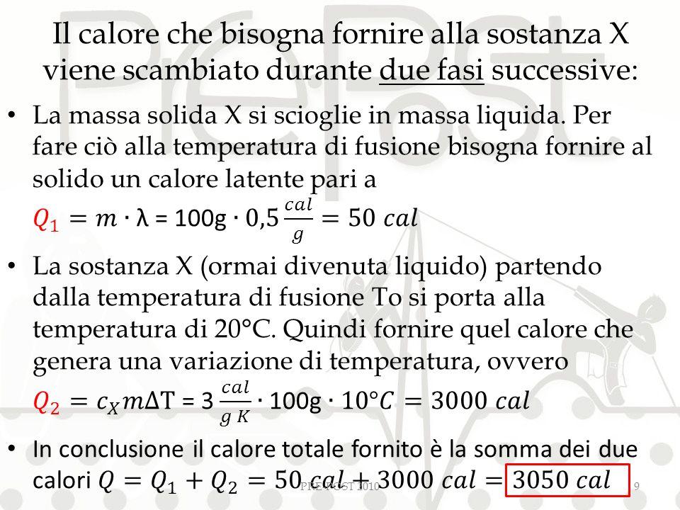 Il calore che bisogna fornire alla sostanza X viene scambiato durante due fasi successive: PRE-POST 20109