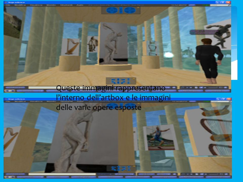 Queste immagini rappresentano linterno dellartbox e le immagini delle varie opere esposte