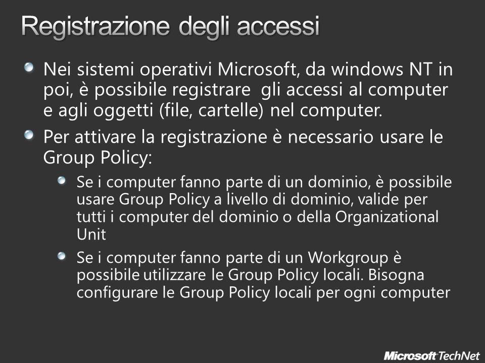Nei sistemi operativi Microsoft, da windows NT in poi, è possibile registrare gli accessi al computer e agli oggetti (file, cartelle) nel computer. Pe