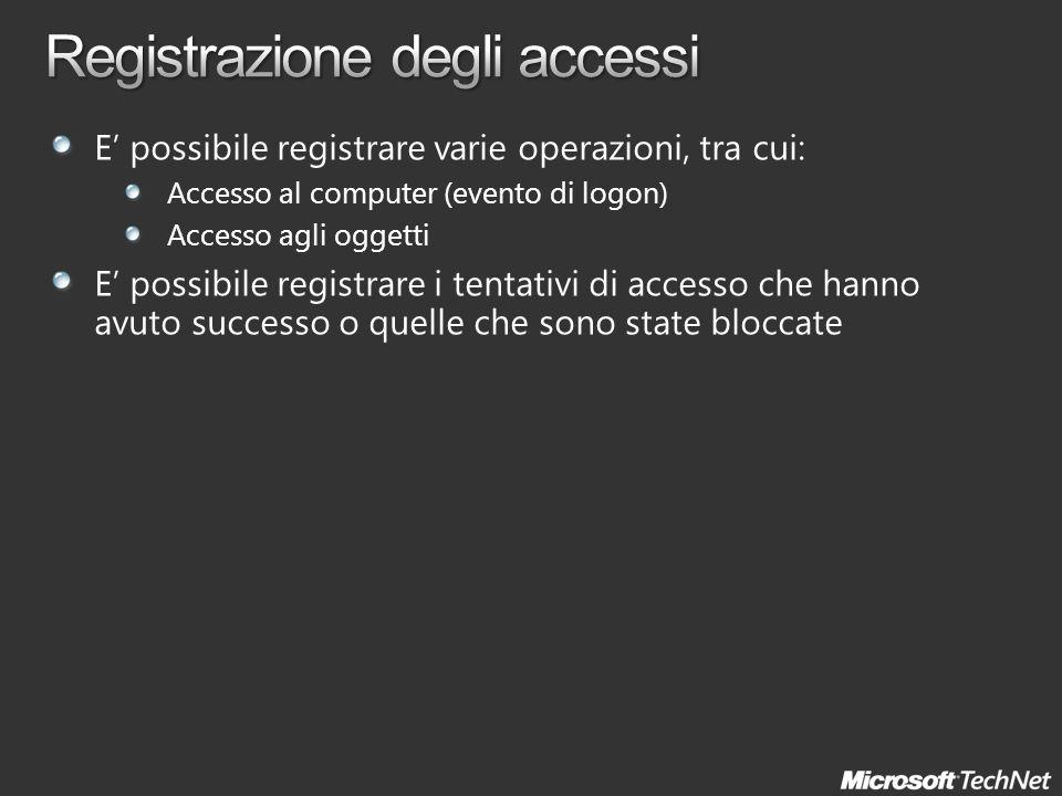 E possibile registrare varie operazioni, tra cui: Accesso al computer (evento di logon) Accesso agli oggetti E possibile registrare i tentativi di acc