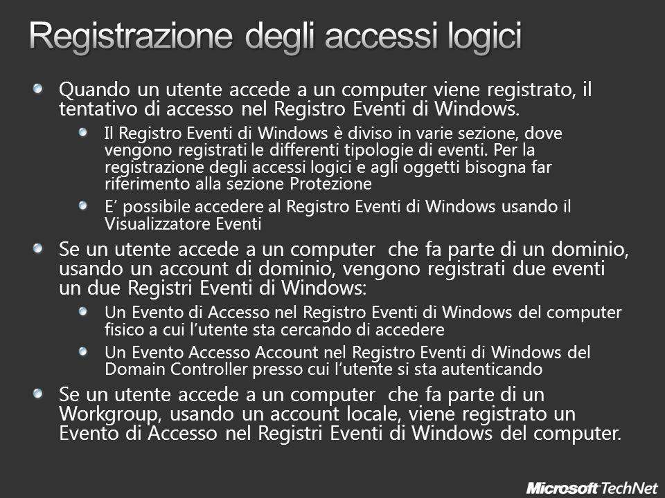 Quando un utente accede a un computer viene registrato, il tentativo di accesso nel Registro Eventi di Windows. Il Registro Eventi di Windows è diviso