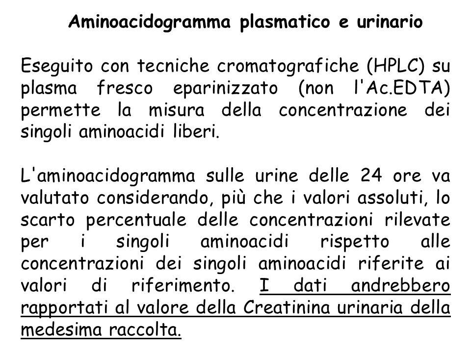 Aminoacidogramma plasmatico e urinario Eseguito con tecniche cromatografiche (HPLC) su plasma fresco eparinizzato (non l'Ac.EDTA) permette la misura d