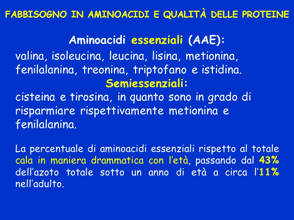 FABBISOGNO IN AMINOACIDI E QUALITÀ DELLE PROTEINE Aminoacidi essenziali (AAE): valina, isoleucina, leucina, lisina, metionina, fenilalanina, treonina,