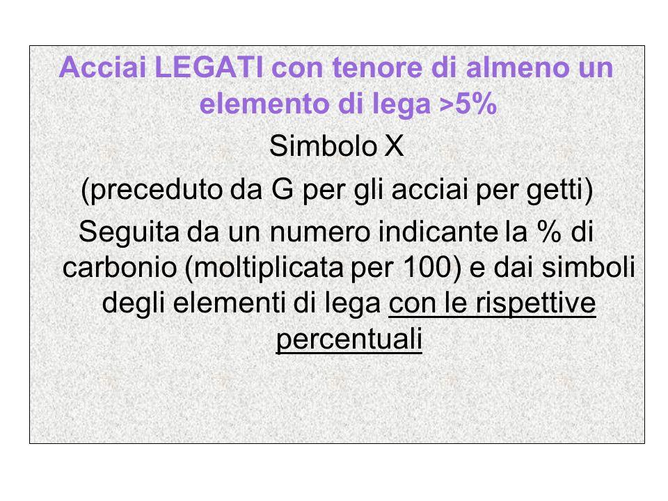 Acciai LEGATI con tenore di almeno un elemento di lega > 5% Simbolo X (preceduto da G per gli acciai per getti) Seguita da un numero indicante la % di