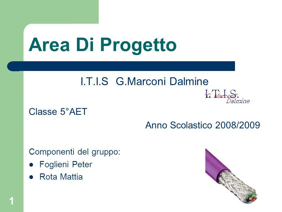 1 Area Di Progetto I.T.I.S G.Marconi Dalmine Classe 5°AET Anno Scolastico 2008/2009 Componenti del gruppo: Foglieni Peter Rota Mattia